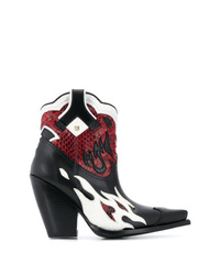 Bottes western en cuir multicolores Valentino