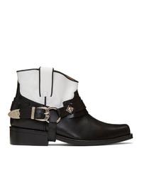 Bottes western en cuir noires et blanches