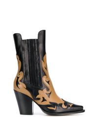 Bottes western en cuir noires Alberta Ferretti