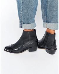 Bottes western en cuir noires Asos