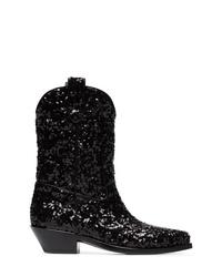 Bottes western en cuir noires Dolce & Gabbana