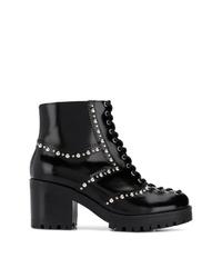 Bottines à lacets en cuir à clous noires McQ Alexander McQueen