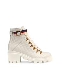 Bottines à lacets en cuir blanches Gucci