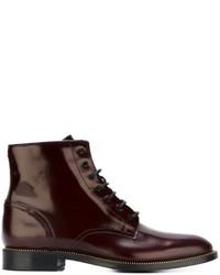 Bottines à lacets en cuir bordeaux Dsquared2