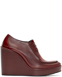 Bottines à lacets en cuir bordeaux Jil Sander
