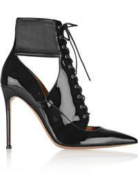 Bottines à lacets en cuir découpées noires Gianvito Rossi