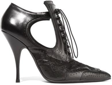 Bottines à lacets en cuir découpées noires Givenchy