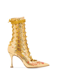 Bottines à lacets en cuir dorées