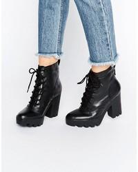 Bottines à lacets en cuir épaisses noires Calvin Klein Jeans