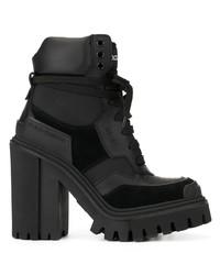 Bottines à lacets en cuir épaisses noires Dolce & Gabbana