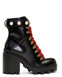 Bottines à lacets en cuir épaisses noires Gucci