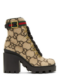 Bottines à lacets en cuir imprimées marron clair Gucci