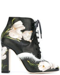 Bottines à lacets en cuir noires Dolce & Gabbana