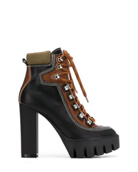 Bottines à lacets en cuir noires Dsquared2
