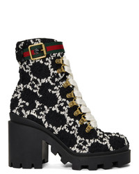 Bottines à lacets en cuir noires Gucci