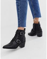 Bottines à lacets en cuir noires New Look