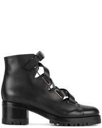 Bottines à lacets en cuir noires Valentino Garavani