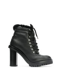 Bottines à lacets en cuir noires Valentino