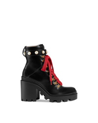 Bottines à lacets en cuir ornées noires Gucci