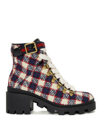 Bottines à lacets en cuir rouge et blanc Gucci