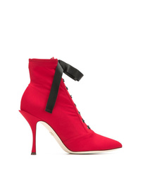 Bottines à lacets en cuir rouges Dolce & Gabbana