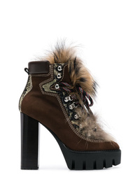 Bottines à lacets en daim marron foncé Dsquared2