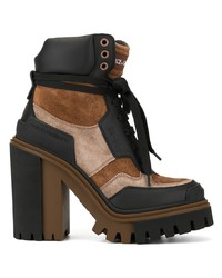 Bottines à lacets en daim marron Dolce & Gabbana