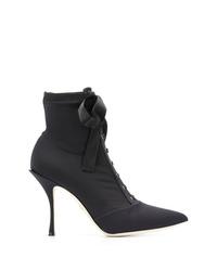 Bottines à lacets en toile noires Dolce & Gabbana