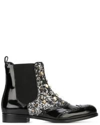 Bottines chelsea en cuir à clous noires Dolce & Gabbana