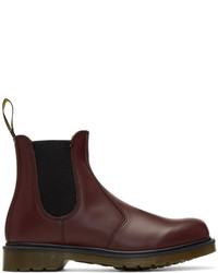 Bottines chelsea en cuir bordeaux