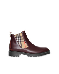 Bottines chelsea en cuir bordeaux Burberry