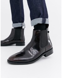 Bottines chelsea en cuir bordeaux Farah