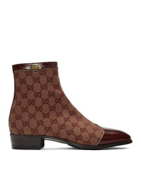 Bottines chelsea en cuir bordeaux Gucci
