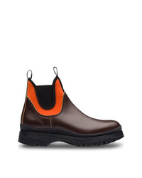 Bottines chelsea en cuir bordeaux Prada