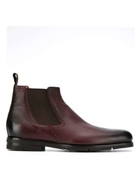 Bottines chelsea en cuir bordeaux Santoni