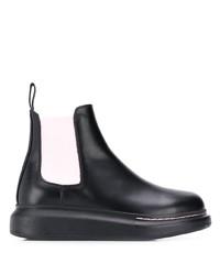 Bottines chelsea en cuir épaisses noires Alexander McQueen