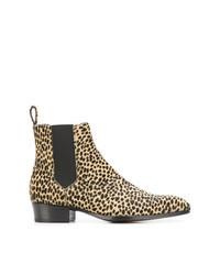 Bottines chelsea en cuir imprimées léopard marron clair