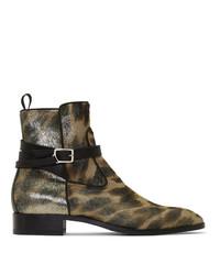 Bottines chelsea en cuir imprimées léopard marron clair Christian Louboutin