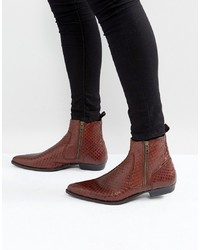 Bottines chelsea en cuir imprimées serpent marron