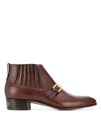 Bottines chelsea en cuir marron Gucci
