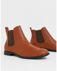Bottines chelsea en cuir marron Jack & Jones