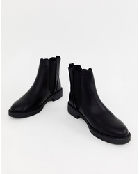 Bottines chelsea en cuir noires New Look