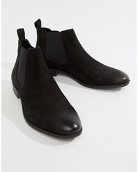 Bottines chelsea en cuir noires Pier One