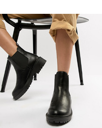 Bottines chelsea en cuir noires Raid Wide Fit