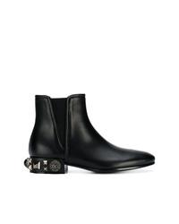 Bottines chelsea en cuir ornées noires Dolce & Gabbana