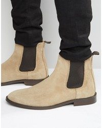 Bottines chelsea en daim beiges Asos