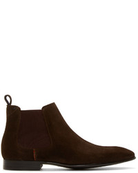 Bottines chelsea en daim bordeaux