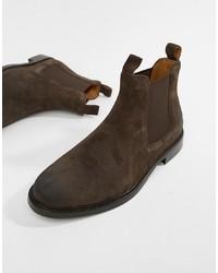 Bottines chelsea en daim brunes foncées Polo Ralph Lauren