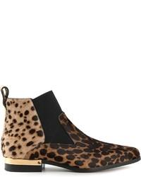 Bottines chelsea en daim imprimées léopard marron clair