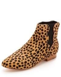 Bottines chelsea en daim imprimées léopard marron clair Loeffler Randall